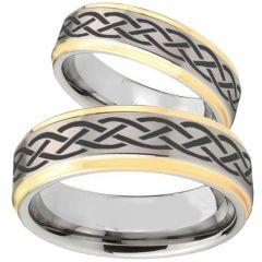 COI Tungsten Carbide Celtic Step Edges Ring-TG1018BB