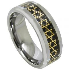 COI Tungsten Carbide Gold Tone Stars Ring With Carbon Fiber-1081