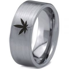 COI Tungsten Carbide Marijuana Leaf Pipe Cut Flat Ring-TG1119