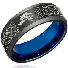 COI Tungsten Carbide Black Blue Wolf Celtic Ring-TG1222