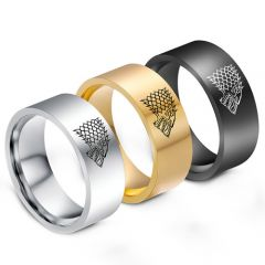 COI Tungsten Carbide Games of Thrones Ice Wolf Ring-TG1290