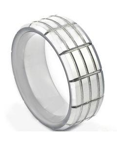 COI Tungsten Carbide Tire Tread Dome Court Ring-TG1347