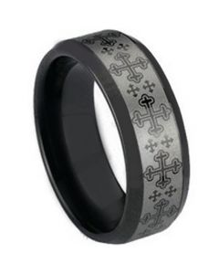 COI Black Tungsten Carbide Cross Beveled Edges Ring-TG1492