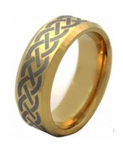 COI Gold Tone Tungsten Carbide Celtic Beveled Edges Ring-TG4512A