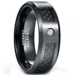 COI Black Tungsten Carbide Carbon Fiber Ring With CZ-TG1567CC