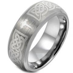 COI Titanium Cross Celtic Beveled Edges Ring-1664