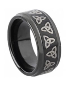 COI Black Tungsten Carbide Trinity Knot Step Edges Ring-TG1673