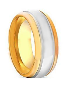 COI Tungsten Carbide Double Grooves Ring-TG1758