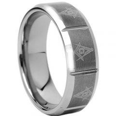 COI Titanium Masonic Horizontal Grooves Ring-1760