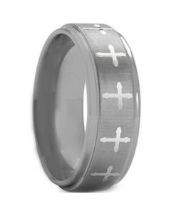 COI Tungsten Carbide Cross Step Edges Ring-TG1818