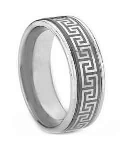 COI Tungsten Carbide Greek Key Double Grooves Ring-TG1831