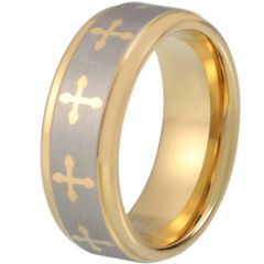 COI Gold Tone Tungsten Carbide Cross Step Edges Ring-TG1870