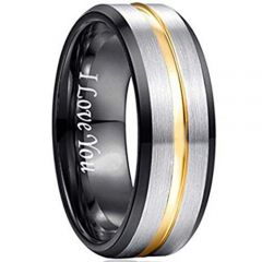 COI Tungsten Carbide Black Gold Tone Center Groove Ring-TG193