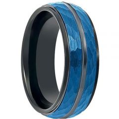 COI Tungsten Carbide Black Blue Faceted Ring-TG199
