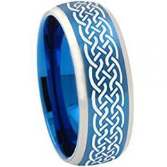 COI Tungsten Carbide Celtic Beveled Edges Ring-TG2043