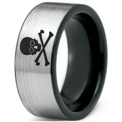 COI Tungsten Carbide Black Silver Skull & Bones Ring-TG2168
