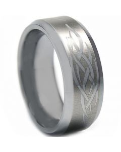 COI Tungsten Carbide Celtic Beveled Edges Ring-TG2172