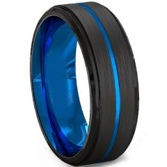 COI Tungsten Carbide Black Blue Center Groove Ring-TG2219