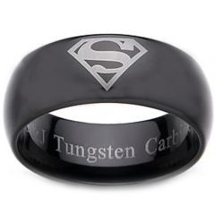 *COI Black Tungsten Carbide Superman Dome Court Ring-TG2277