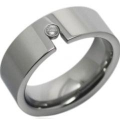 COI Titanium Pipe Cut Flat Ring With Cubic Zirconia-2312