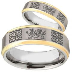 COI Tungsten Carbide Dragon Celtic Step Edges Ring-TG2354