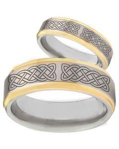 COI Tungsten Carbide Celtic Step Edges Ring - TG2368BB