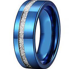 COI Blue Tungsten Carbide Offset Meteorite Ring-TG2426