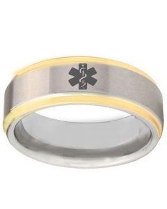 COI Tungsten Carbide Medical Alert Step Edges Ring-TG2407BB