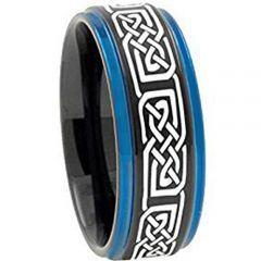 COI Tungsten Carbide Black Blue Celtic Step Edges Ring-TG2422