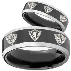 COI Tungsten Carbide CTR Beveled Edges Ring-TG2432BB