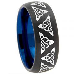 COI Tungsten Carbide Black Blue Trinity Knots Dome Court Ring-TG2492