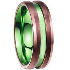COI Tungsten Carbide Espresso Green Center Grooves Ring-TG2534