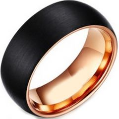 COI Tungsten Carbide Black Rose Dome Court Ring-TG2555