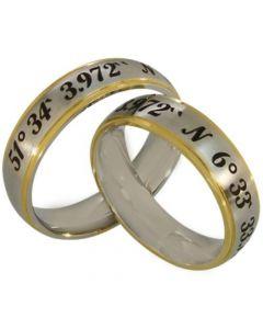 COI Tungsten Carbide Gold Silver Custom Coordinate Ring-TG2565