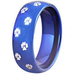 COI Blue Tungsten Carbide Paws Track Dome Court Ring-TG2611