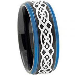 COI Tungsten Carbide Black Blue Celtic Step Edges Ring-TG2730
