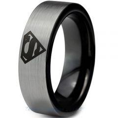 COI Titanium Black Silver Superman Pipe Cut Flat Ring-2776