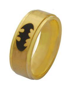 *COI Gold Tone Tungsten Carbide Batman Step Edges Ring-TG2860