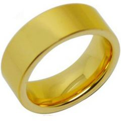 *COI Gold Tone Tungsten Carbide Polished Shiny Pipe Cut Flat Ring-TG288AA