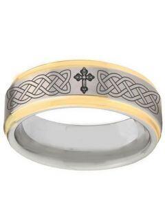 COI Tungsten Carbide Celtic Cross Step Edges Ring-TG2895BB