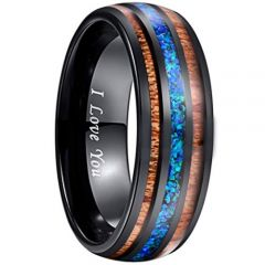 COI Black Tungsten Carbide Blue Crushed Opal & Wood Ring-TG2897