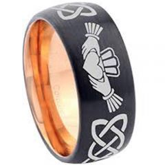 COI Tungsten Carbide Black Rose Mo Anam Cara Celtic Ring-TG2899