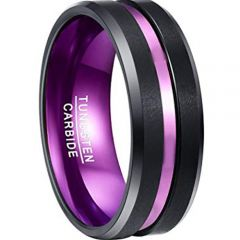COI Tungsten Carbide Black Purple Center Groove Ring-TG2950