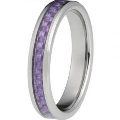 COI Tungsten Carbide Beveled Edges Ring With Carbon Fiber-TG2974