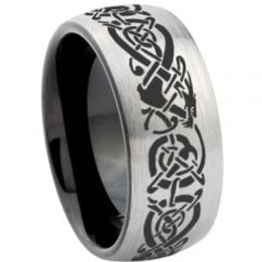 COI Titanium Black Silver Dragon Dome Court Ring-3007