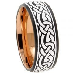 COI Tungsten Carbide Black Rose Celtic Dome Court Ring-TG3043