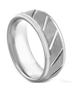 COI Tungsten Carbide Diagonal Grooves Ring-TG3045
