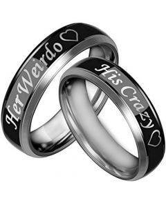 COI Tungsten Carbide Black Silver His Crazy Her Weirdo Ring-3067