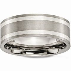 COI Titanium Double Lines Pipe Cut Flat Ring - JT3071