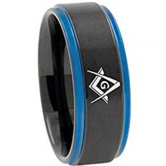 COI Tungsten Carbide Black Blue Masonic Step Edges Ring-TG3092